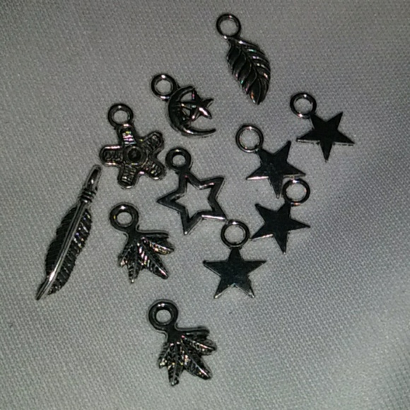 Jewelry - 11 misc Charms,charm bracelet, feather Stars, Moon